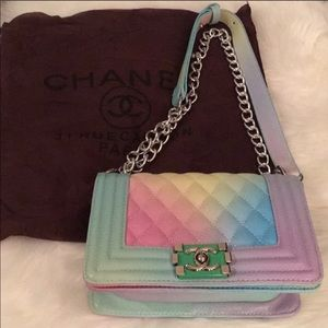 Rainbow colored purse with dust bag